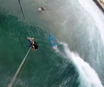 Had to bail on this wave, surfer vs. kitesurf